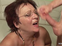 Husband Fuck old Cheating Wife after Creampie of Step Son