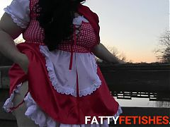 BBW Red Riding Hood pees in public on a deck