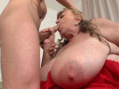 Milena - BBW Busty saggy Granny fucked on bed - EDITED