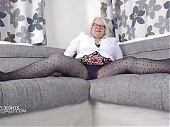 Teasing in my black spotty tights