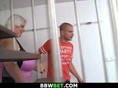 Huge blonde lady getting doggystyled