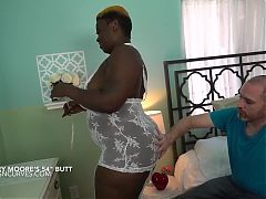 Big black butt taken doggy by white cock
